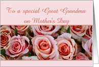 great grandma Happy Mother's Day - pale pink roses mother's day card