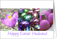 husband happy easter -purple�easter collage card