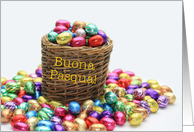 italian Happy easter - basket with colored chocolate eggs card