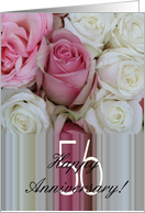 56th Wedding Anniversary Soft Pink roses card