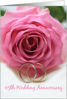 65th Wedding Anniversary Invitation Card - pink rose and ring card