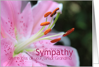 great grandma Pink Lily Sympathy card