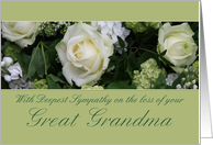 great grandma White rose Sympathy card