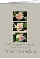 great grandma three pink roses Sympathy card