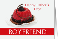 boyfriend Happy Father's Day Red Fruitcake with chocolate card