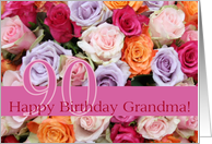 90th birthday Grandma, colorful rose bouquet card