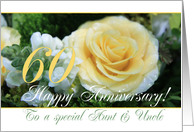 60th Wedding Anniversary card for Aunt & Uncle - Yellow Rose card