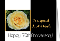 70th Wedding Anniversary card for Aunt & Uncle - Yellow Rose card