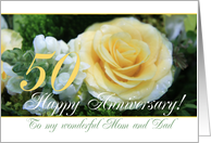 50th Wedding Anniversary card for Mom and Dad - Yellow Rose card