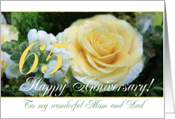 65th Wedding Anniversary card for Mom and Dad - Yellow Rose card