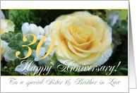 30th Wedding Anniversary card for Sister & Brother in Law - Yellow Rose card