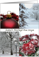 Oregon Season's Greetings - Red Winter collage state specific christmas card