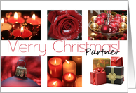 Partner Merry Christmas red, black & white Winter collage christmas card