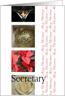 Secretary Merry Christmas red, black & white Winter collage christmas card