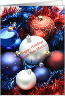 New Mexico Happy Holidays card - Red, white and blue ornaments card