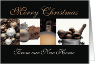 New Home announcement Merry Christmas sepia, black & white Winter collage card