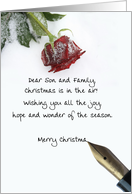 christmas letter on snow rose paper to Son & Family card