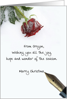 Oregon christmas letter on snow rose paper card