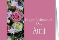 Aunt Happy Valentine's Day pink and white roses card