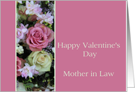 Mother in Law Happy Valentine's Day pink and white roses card