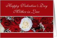 Mother in Law Happy Valentine's Day red and white roses card