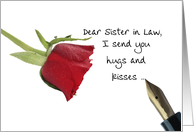 Red Rose Valentine's message to Sister in Law card