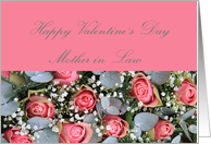 Mother in Law Happy Valentine's Day Eucalyptus/pink roses card