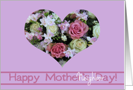 Mother's Day card pink & white Roses for Neighbor card