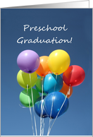 Preschool Graduation Announcement colorful balloons card