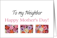 Happy Mother's Day, mixed pastel roses for Neighbor card