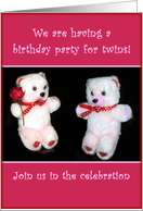 Twins Birthday Party Invitation - Teddybear card