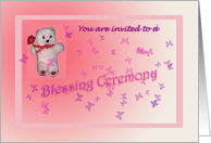 Pink Blessing Ceremony Invitation - Teddy card