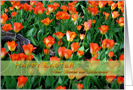 Happy Easter for brother and sister-in-law- Orange Tulips card