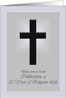 Invitation to 25th anniversary of religious life card