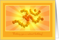 Yoga birthday greetings with Marigold flower Aum card