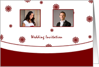 Wedding Invitation card with custom photo - red and white card