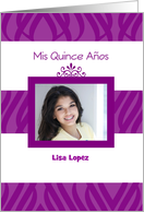 Purple zebra patterned Quinceanera Invitation with photo card