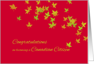 Congratulations on becoming Canadian citizen - maple leaves card