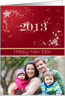 2013 New Year Card with Custom Photo and White Floral Design card