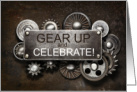 Steampunk Birthday Gear Up and Celebrate card