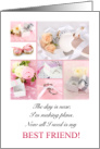 Maid of Honor Request for Best Friend Pink and White card