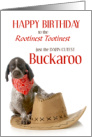 Western Themed Birthday for Young Cowboy with Puppy card