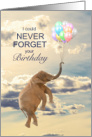 Birthday Elephant Never Forget Floating with Balloons card