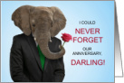 for Wife Wedding Anniversary Elephant with a Rose card