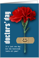Happy Doctors' Day. Red Carnation card