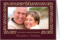50th Anniversary Party Invitation. Elegant Floral Design Photo Card