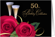 50th Birthday Party Invitation. Red Roses and Champagne Cups card