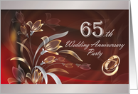 65th Wedding Anniversary Party Invitation card