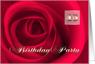45th Birthday Party Invitation. Romantic Red Rose card