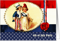 4th of July Party Invitation. Vintage Kids card
